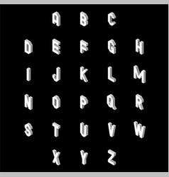 3d flat style font set alphabet letters vector image