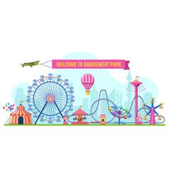 Amusement park landscape attractions park ferris vector