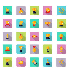 Awards and trophy icon set in flat style with vector