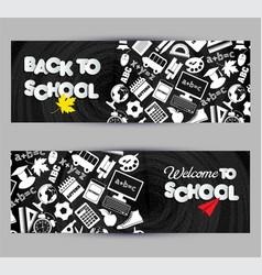 Back to school banner set on black board vector