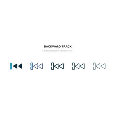 Backward track icon in different style two vector