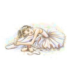 ballerina hand-drawn sketch a cute little girl vector image