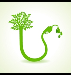 Bio fuel concept with nozzle and tree vector image
