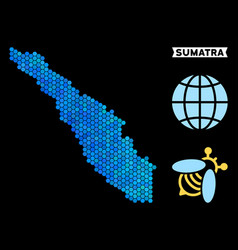 Blue hexagon sumatra island map vector
