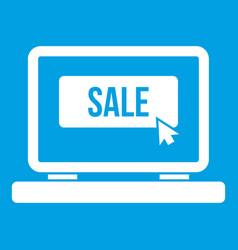 Button sale on laptop icon white vector