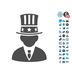 Capitalist flat icon with free bonus elements vector