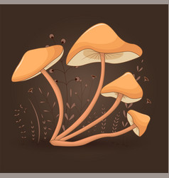 Card with mushrooms honey agaric on a floral vector