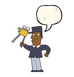 cartoon film maker with speech bubble vector image