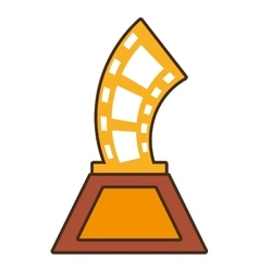 Cartoon strip film trophy awards gold wooden vector