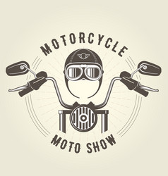 chopper moto handlebar and vintage helmet vector image
