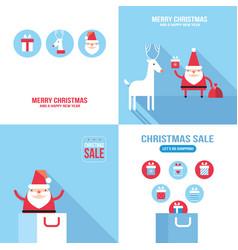 christmas new year banner set santa claus vector image