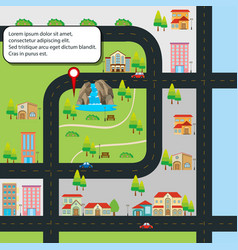City map with road and different locations vector