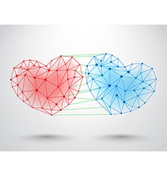 Couple connected hearts vector