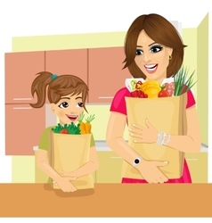 Daughter and mother with groceries paper bags vector