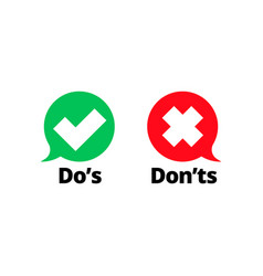 Do and dont check tick mark red cross icon vector