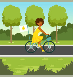 Ecological nature background with girl riding a vector