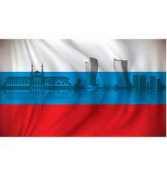flag of russia with kazan skyline vector image