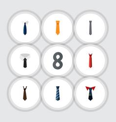 Flat icon clothing set of collar textile necktie vector