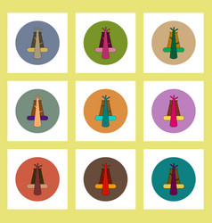 Flat icons set of volcano explosion structure vector