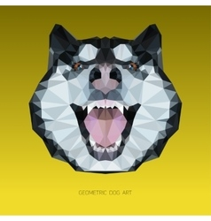 Geometric head of a dog with yellow background vector image