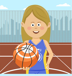girl with ball standing on city basketball court vector image