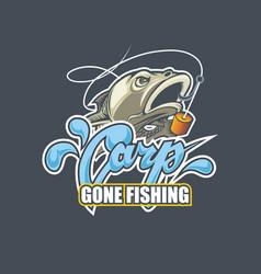 gone fishing logotips nice title carp and fish vector image