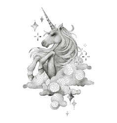 Graphic unicorn in stippling technique vector