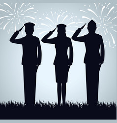 Group military people silhouettes vector