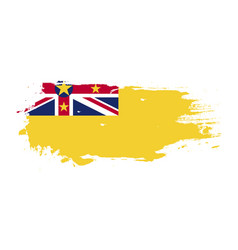 grunge brush stroke with niue national flag vector image