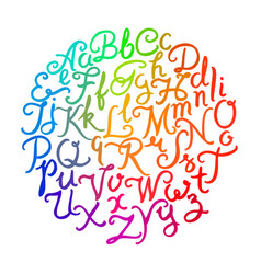handwritten colorful alphabet vector image