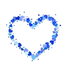 Heart contour made up of little blue hearts vector image