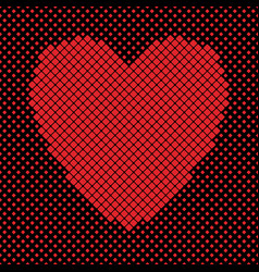heart shaped background design from red squares vector image