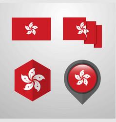 Hongkong flag design set vector