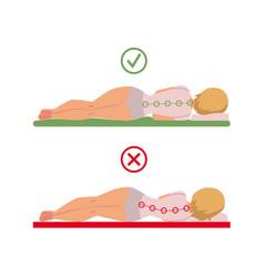 Incorrect correct sleeping posture of woman vector