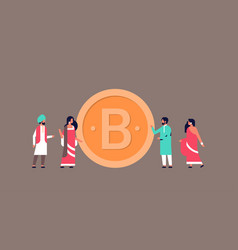 Indian business people mining bitcoin crypto vector