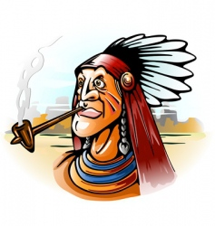 Indian chief smoking tube vector image vector image