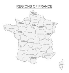 Interactive map of metropolitans french regions on vector