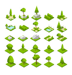 Isometric 3d nature elements forest and city park vector