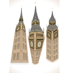 Isometric Big Ben Tower in three positions vector image