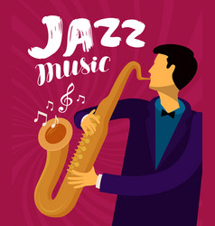 jazz music musician plays the saxophone vector image