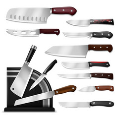 Knives butcher meat knife set chef cutting vector