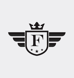 letter f shield wing vector image