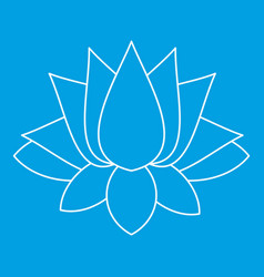lotus icon outline style vector image