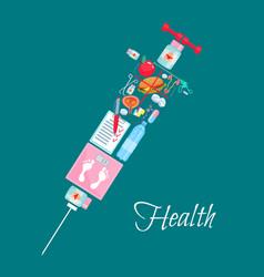 Medical healthcare syringe poster vector