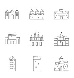 Medieval castles icon set outline style vector