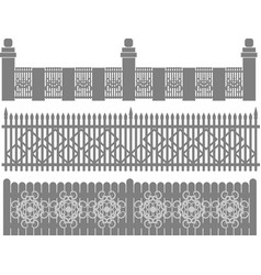 metal fence-grid forged fence vector image