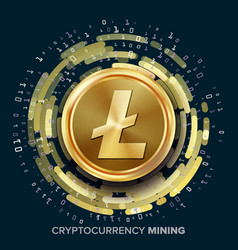 mining litecoin cryptocurrency golden coin vector image