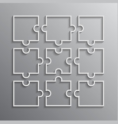 Nine white puzzle pieces outline - jigsaw vector