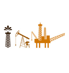 oil rig tower pump offshore sea platform vector image
