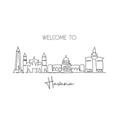 One continuous line drawing havana city skyline vector